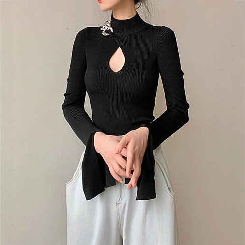 Black Flare Sleeve Hollowed out Slim Sweater Top