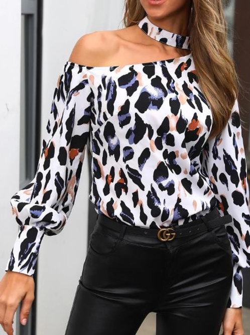 Hanging neck off-shoulder long-sleeved leopard print blouse