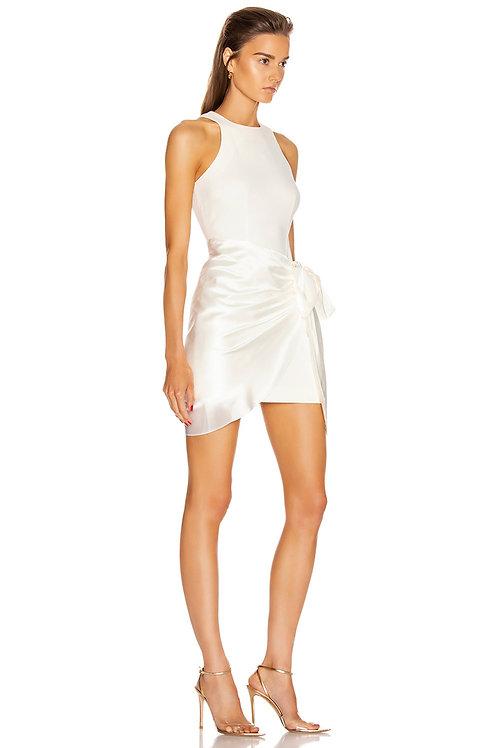 White Asymmetrical Bandage Bow Sleeveless Midi Dress