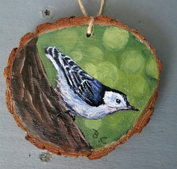 Nuthatch Wood Slice Ornament