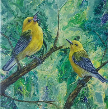 Concert! Prothonotary Warblers, 12x12 acrylic on canvas, unframed, $80 plus shipping and tax