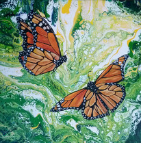 Following the Light (Monarch Butterflies), 12x12 acrylic on canvas, $80 plus shipping and tax