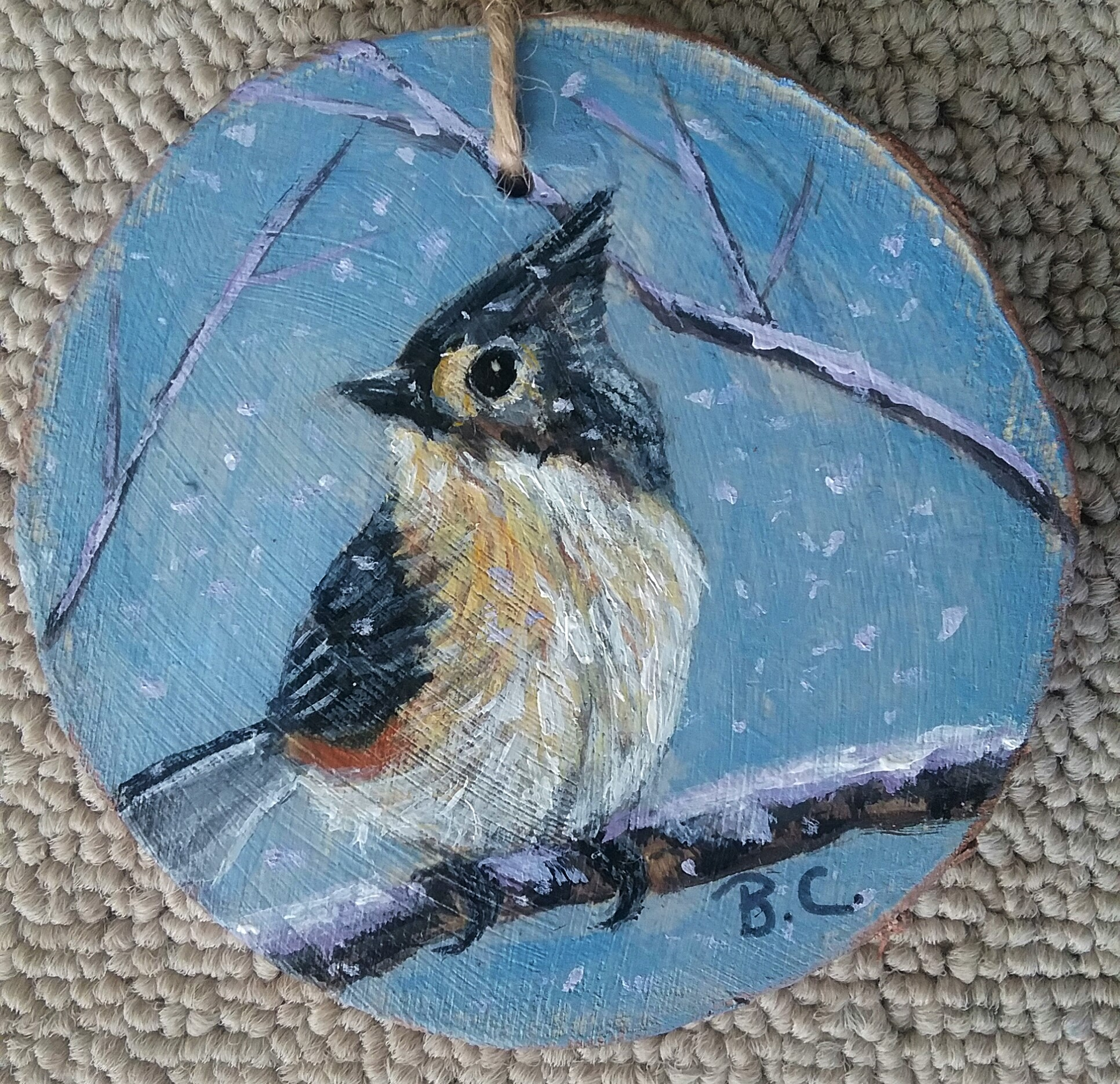 Titmouse Wood Slice Ornament