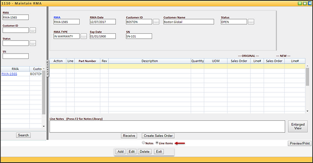 Data entry for RMA line item inventory receipt - lot and serial number return on a sales order. Create repair orders and handle warranty