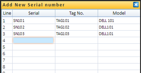 Serial and tag number receiving screen. Validate serial and tag numbers.Bar Code compaible.