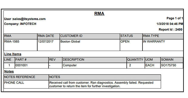 RMA report that describes return issue