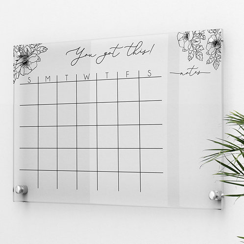 Acrylic Monthly Calendar with peonies