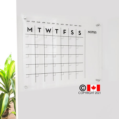 Acrylic Monthly Calendar with side notes