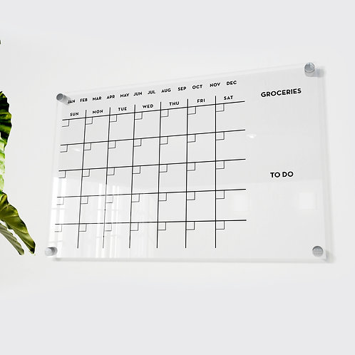 Acrylic Monthly Calendar with Groceries and To do list