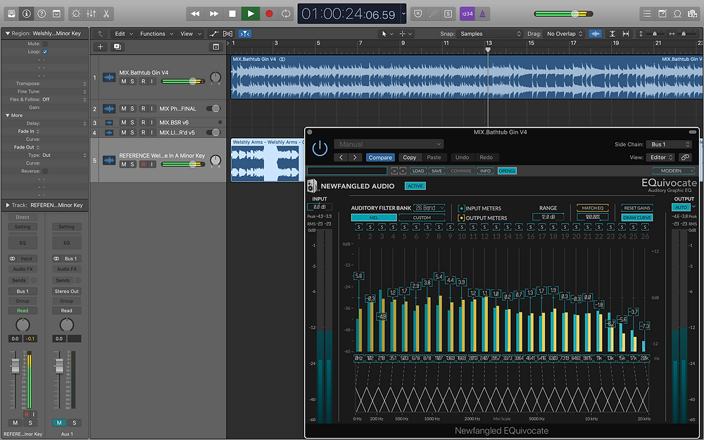 Logic Pro set open, showing Newfangled Audio EQuivocate.