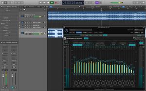 Logic Pro set open, showing Newfangled Audio EQuivocate.
