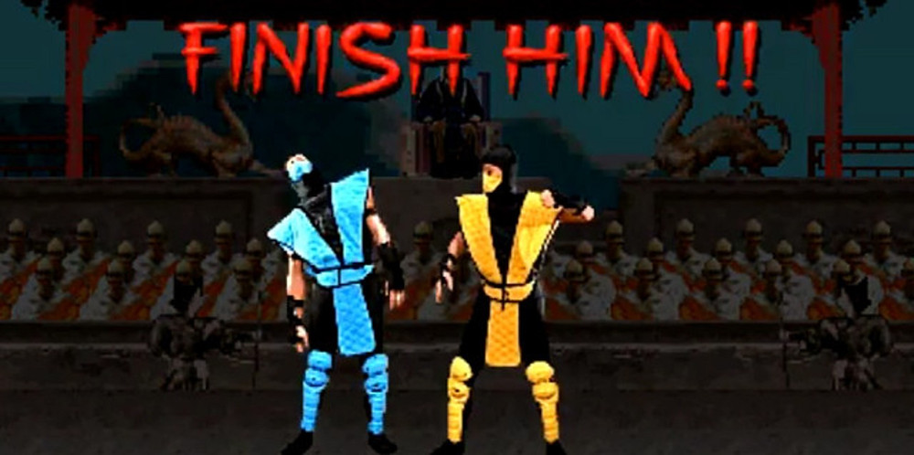 Scorpion and Sub-Zero fighting in Mortal Kombat