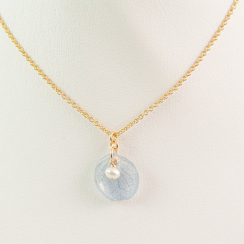 Real blue hydrangea petal in 14ct rose gold filled necklace