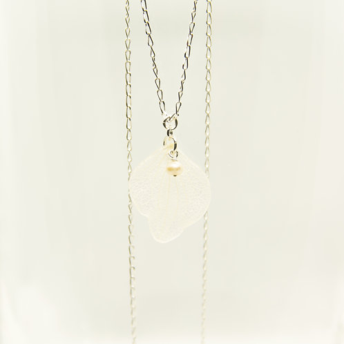 White hydrangea petal necklace in sterling silver