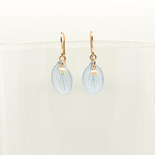 Blue hydrangea petal earrings in 14ct rose gold filled