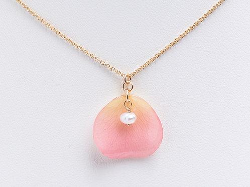 Pale pink rose petal 14ct gold filled necklace