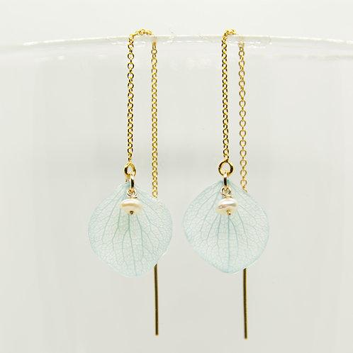 Light blue hydrangea petal threader earrings