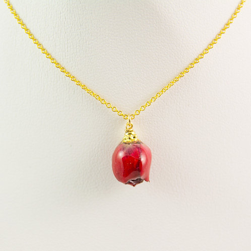 Small red rose bud necklace