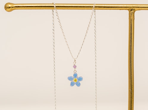Real forget me not & amethyst (February birthstone) necklace