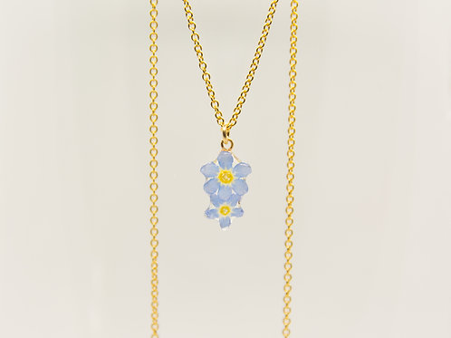 Real forget me not necklace 2 flowers in 14ct gold filled