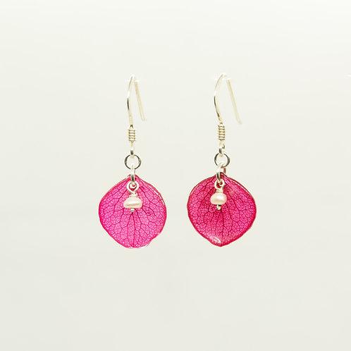 Red hydrangea petals in sterling silver earrings