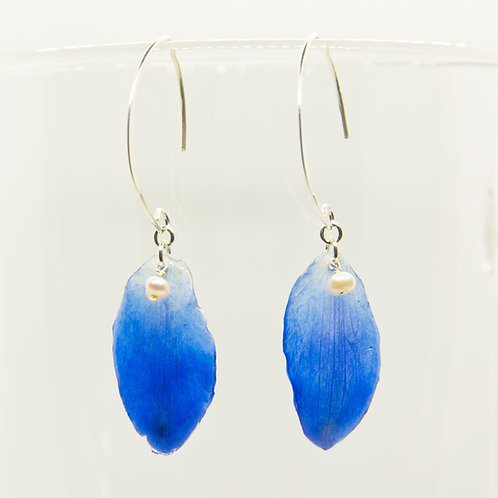 Blue delphinium petal earrings in sterling silver