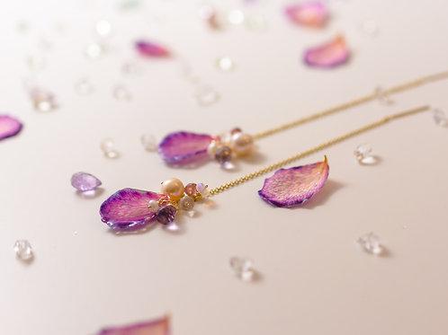 Rose petal & gemstone chain earrings