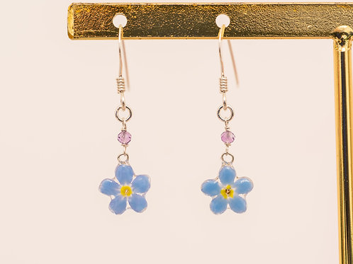 Real forget me not & amethyst (February birthstone) earrings