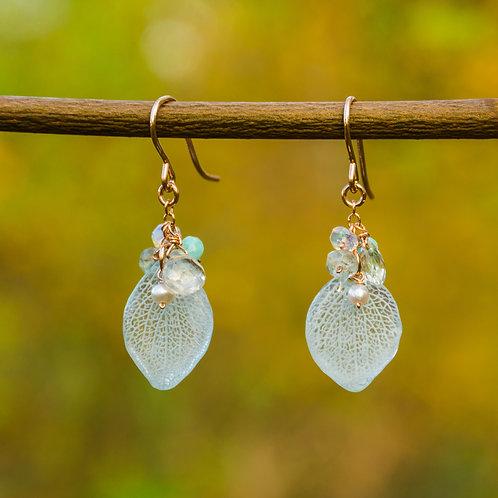light blue hydrangea petals & gemstones in 14ct rose gold filled earrings