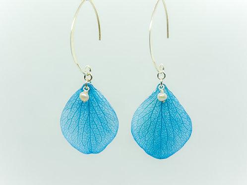 Blue hydrangea petal earrings in sterling silver