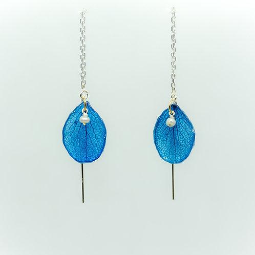 Blue hydrangea threader earrings in sterling silver