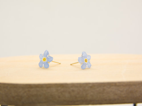 Real forget me not stud earrings in sterling silver