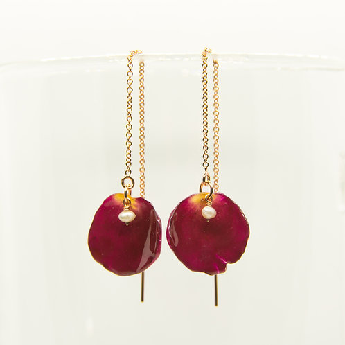 Red rose petal threader earrings in 14ct rose gold filled