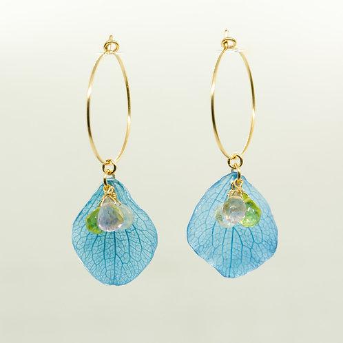 Blue hydrangea petals & gemstones in 14ct gold filled