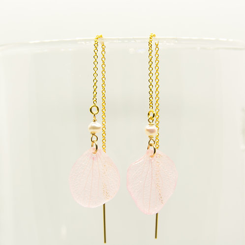 Pink hydrangea petal threader earrings in 14ct gold filled