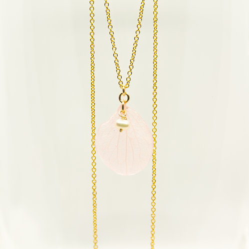 Pink hydrangea petal necklace in 14ct gold filled