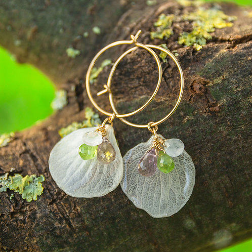 White hydrangea petals & gemstones in 14ct gold filled earrings