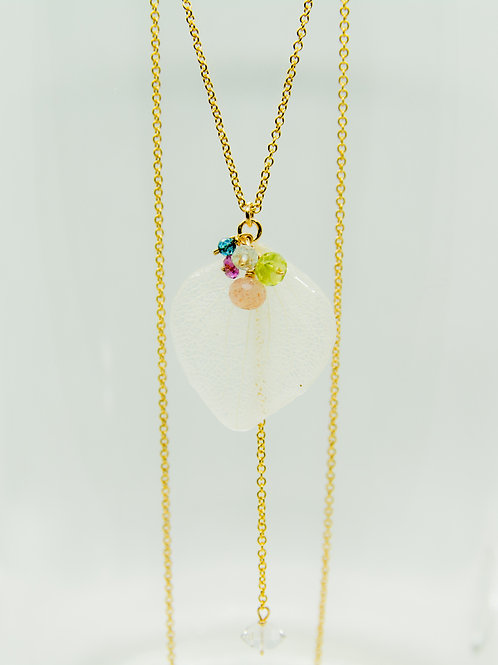 Real hydrangea petal & gemstones necklace in 14ct gold filled