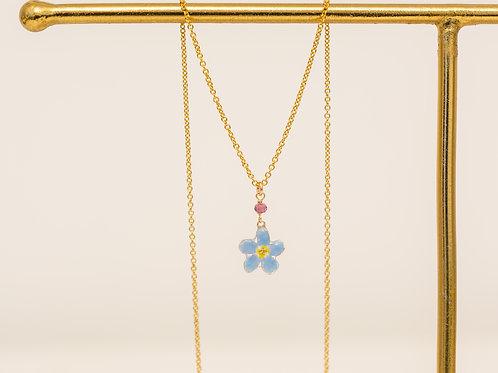 Real forget me not & rhodolite garnet (january birthstone) necklace