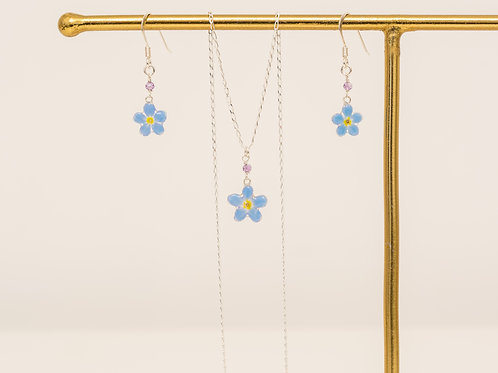 Real forget me not & amethyst (February birthstone) set
