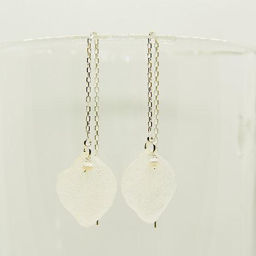 Real white hydrangea petal earrings sterling silver