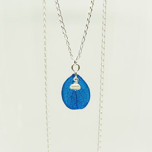 Real blue hydrangea petal necklace in sterling silver