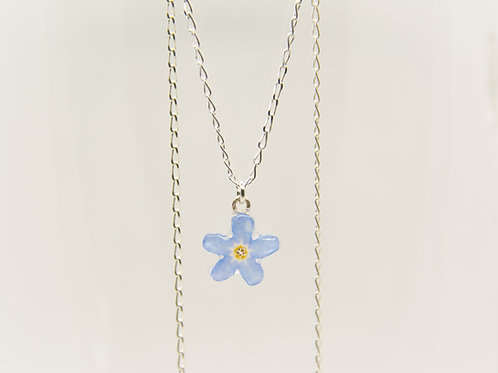 Real forget me not necklace in sterling silver