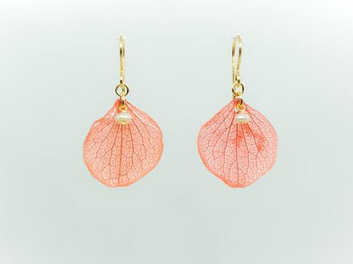Red hydrangea petal earrings in 14ct gold filled