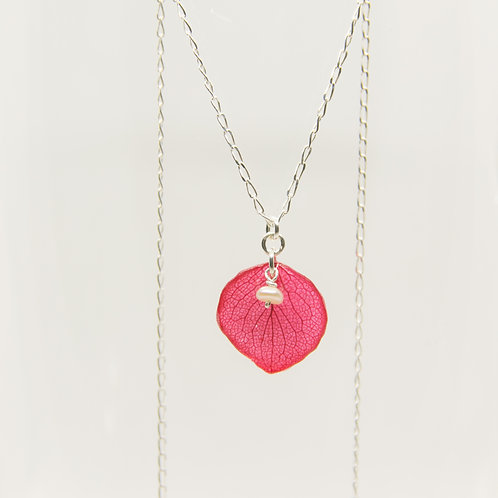 Real red hydrangea peal necklace in sterling silver
