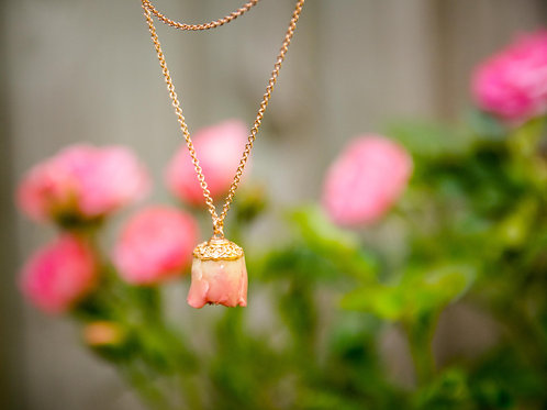 Pink rose bud in rose gold filled necklace