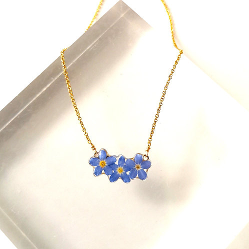 Real forget me not necklace in 14ct gold filled