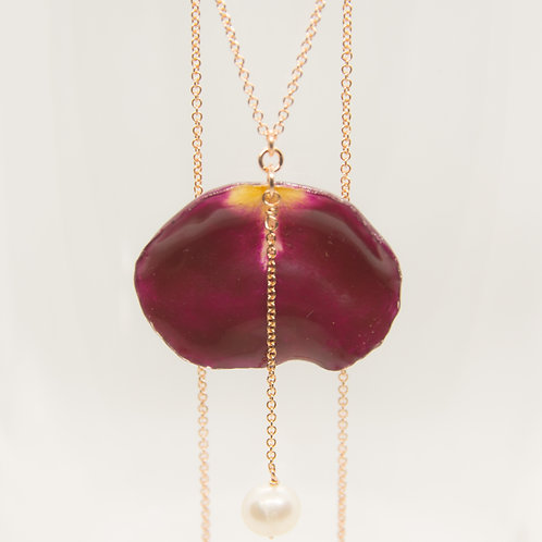 Dark red rose petal & freshwater pearl necklace in 14ct rose gold filled