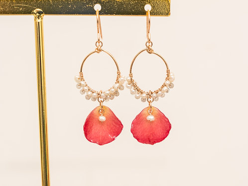 Rose petal & Gemstone earrings in 14ct rose gold filled