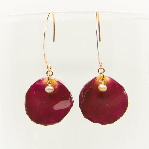 Dark red rose petal earrings in 14ct rose gold filled